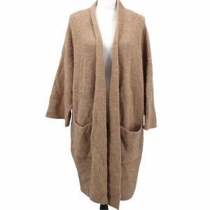 Brass Clothing Cocoon Coat Cardigan Sweater Tan Soft Chunky Knit Pockets XL/1X